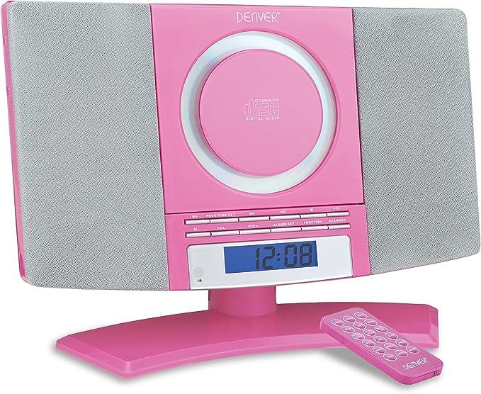 Denver Musik-Center (vertikaler CD-Player mit LCD-Display, AUX-In, Wandhalterung, Weckerradio) rosa