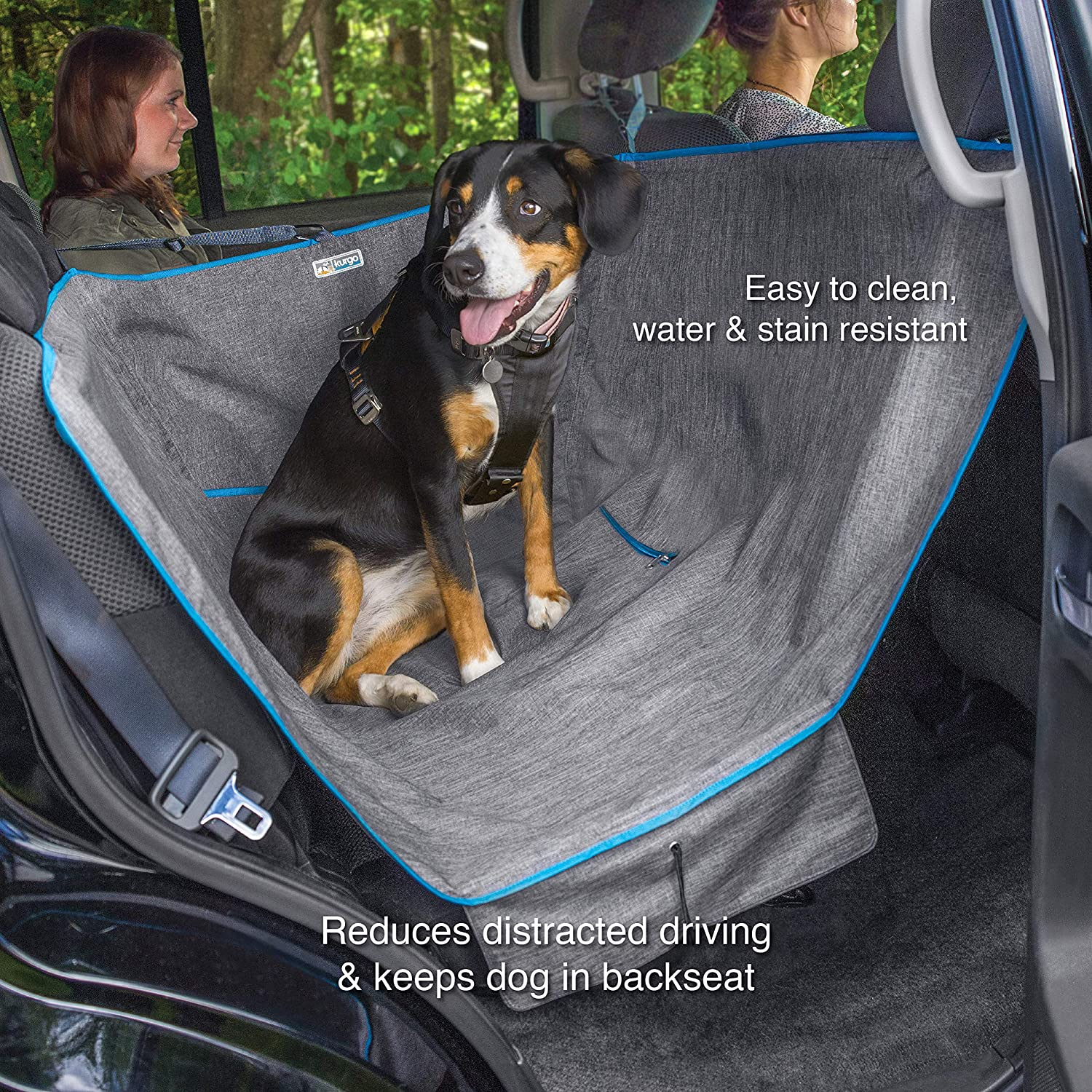 Kurgo Dog Hammock Car Seat Cover for Pets Pet Seat Cover Car Hammocks for Dogs Water-Resistant Wander Heather Journey Half Coast to Coast Cars, Trucks, SUVs Black Grey Khaki