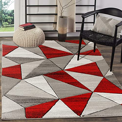 Glory Rugs Area Rug 8×10 Light red Modern Triangle Geometry Soft Hand Carved Contemporary Floor Carpet Fluffy Texture