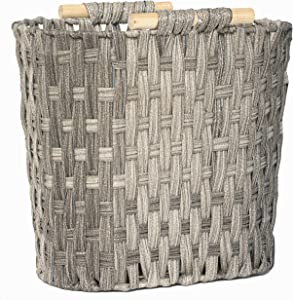RGI Home Woven Resin Storage Rack - Lightweight Handcrafted Magazine and Book Organizer Wicker Basket Bin with Wood Handles (Gray)