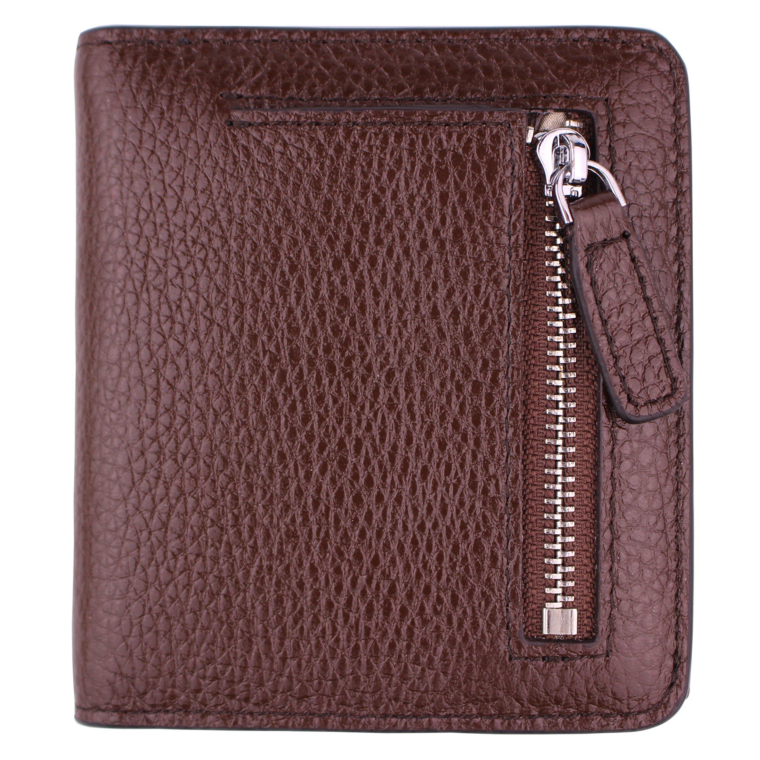 Women's RFID Blocking Small Genuine Leather Wallet Ladies Mini Card Case Purse (Coffee)