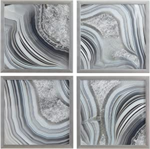 "Set of 4 Silver Geodes Prints Wall Art Decor in Silver Frames, 22"" x 22"" Each, 44"" X 44"" Overall"