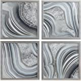 """Amazon Brand – Rivet Set of 4 Silver Geodes Prints Wall Art Decor in Silver Frames, 22"""" x 22"""" Each, 44"""" X 44"""" Overall"""