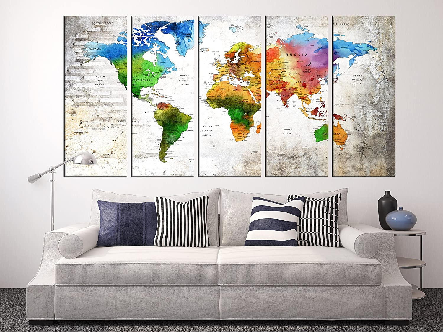 Amazon.com: Canvas Wall Art Decals, Watercolor World Map for ...