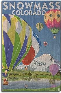 product image for Lantern Press Snowmass, Colorado - Hot Air Balloons (10x15 Wood Wall Sign, Wall Decor Ready to Hang)