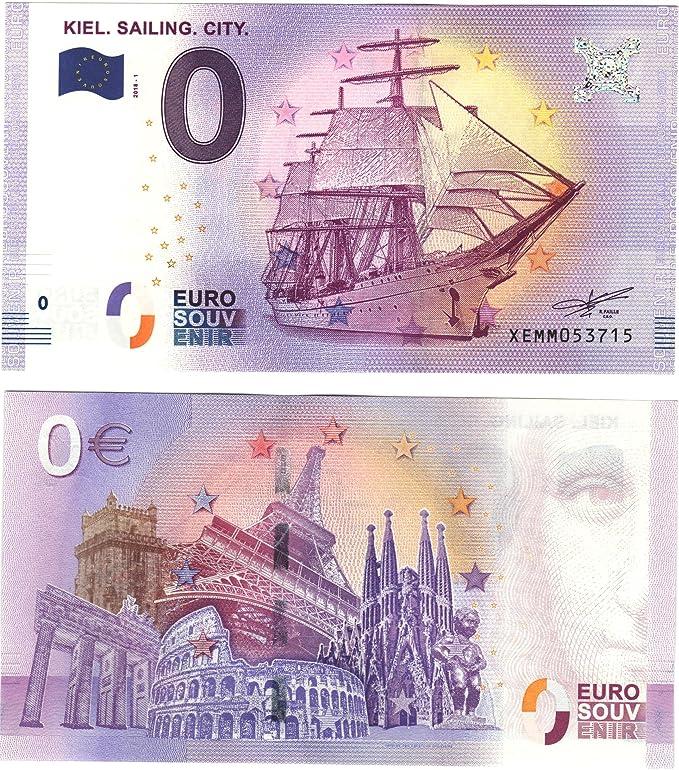 0 Euro Schein Gorch Fock Kiel Sailing City 2018 Null Euro Souvenier Banknote mit verschiedenen Sehensw/ürdigkeiten