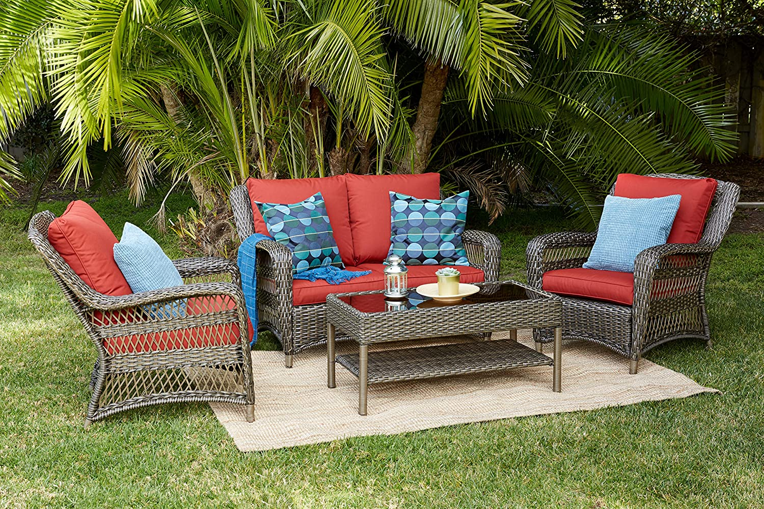 Quality Outdoor Living 65-5151271 Sonoma All-Weather Wicker 4 Piece Deep Seating Set, Brown Red Cushions