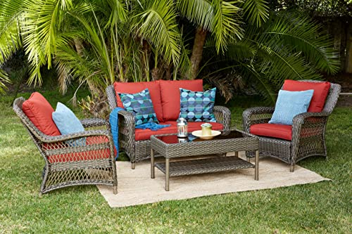 Quality Outdoor Living 65-5151271 Sonoma All-Weather 4 Piece Deep Seating Set, Brown Wicker Red Cushions