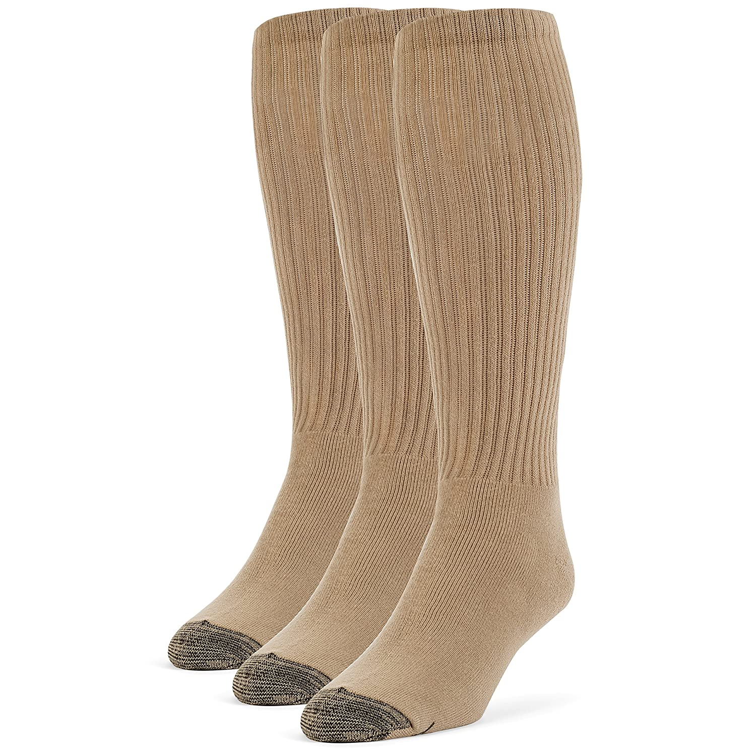 Galiva Mens Cotton Extra Soft Over the Calf Cushion Socks 3 Pairs Small Grey GL022GR-S