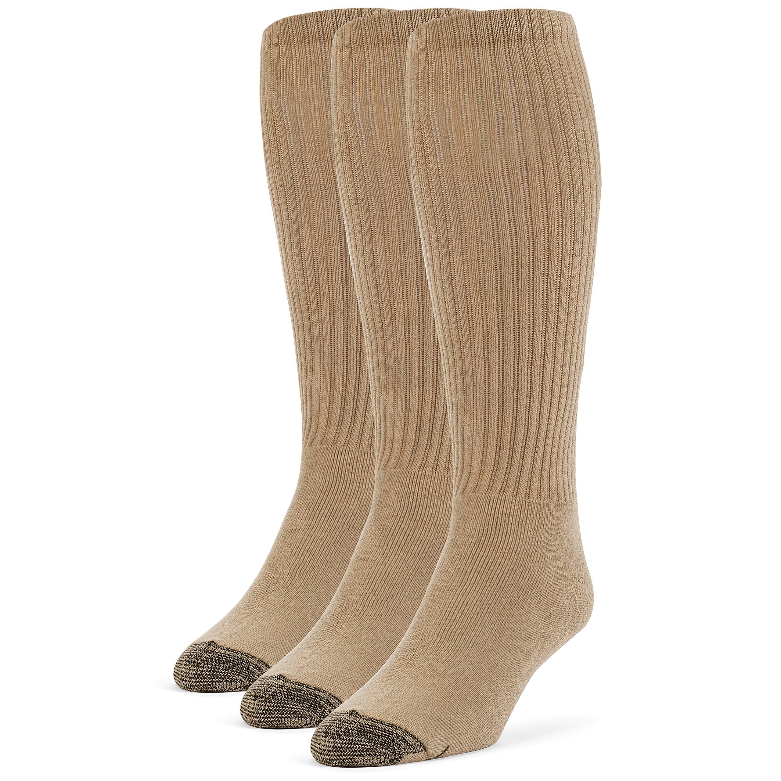 Galiva Men's Cotton Extra Soft Over the Calf Cushion Socks - 3 Pairs, Medium, Nude Beige