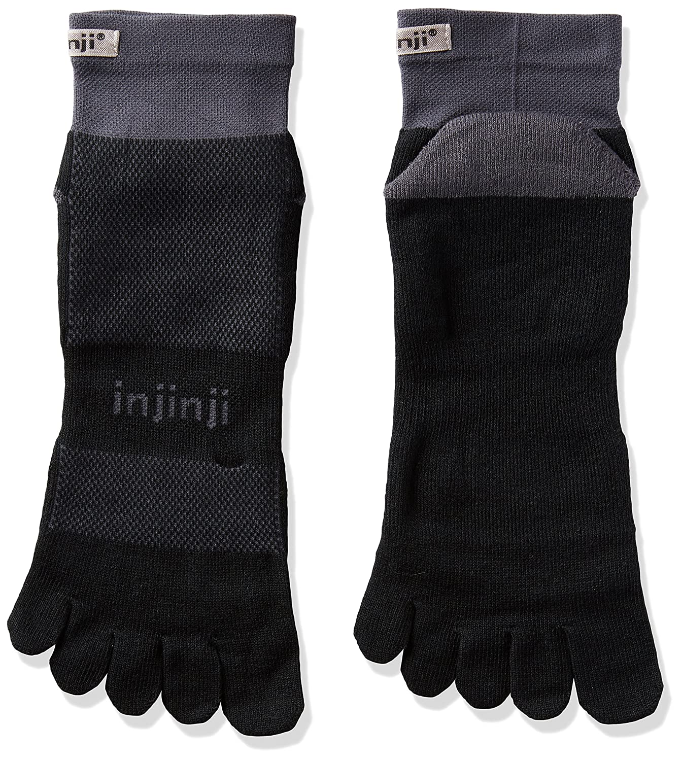 Injinji Socks Run Midweight Mini Crew White/Grey Running Toe Socks 203230-BLG-XL