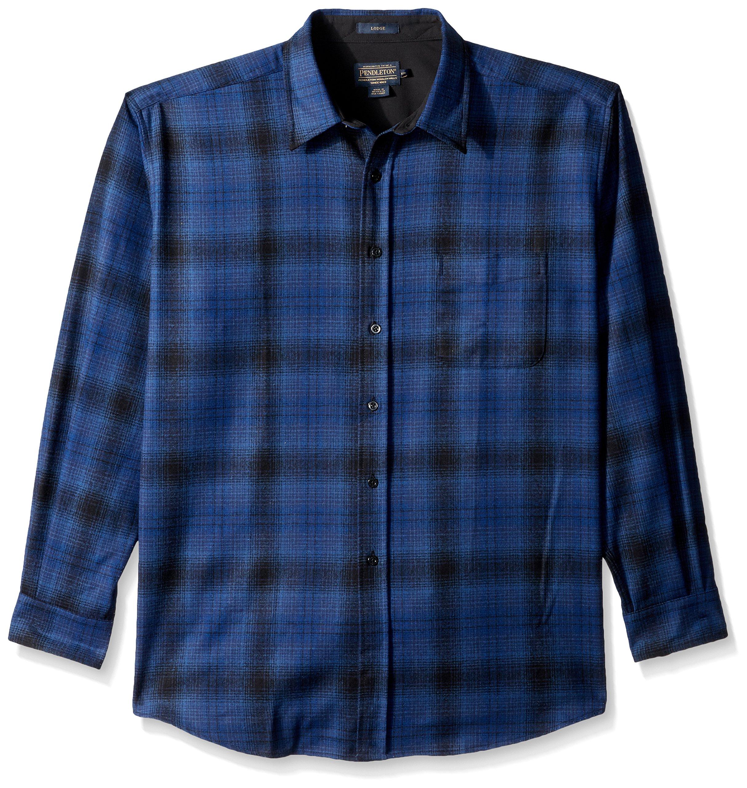 Pendleton Men's Long Sleeve Button Front Classic Lodge Shirt, Blue/Black Ombre-31951, LG