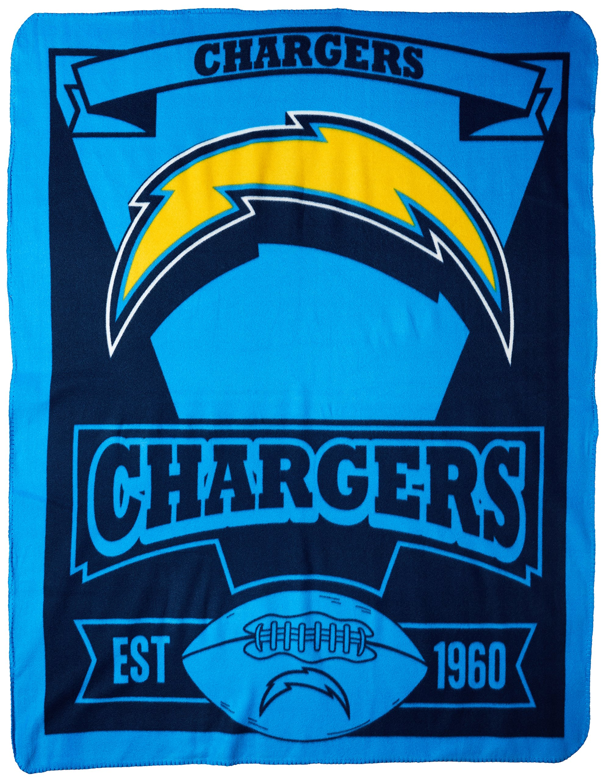 The Northwest Company Officially Licensed NFL Los Angeles Chargers Marque Printed Fleece Throw Blanket, 50'' x 60'', Multi Color by The Northwest Company