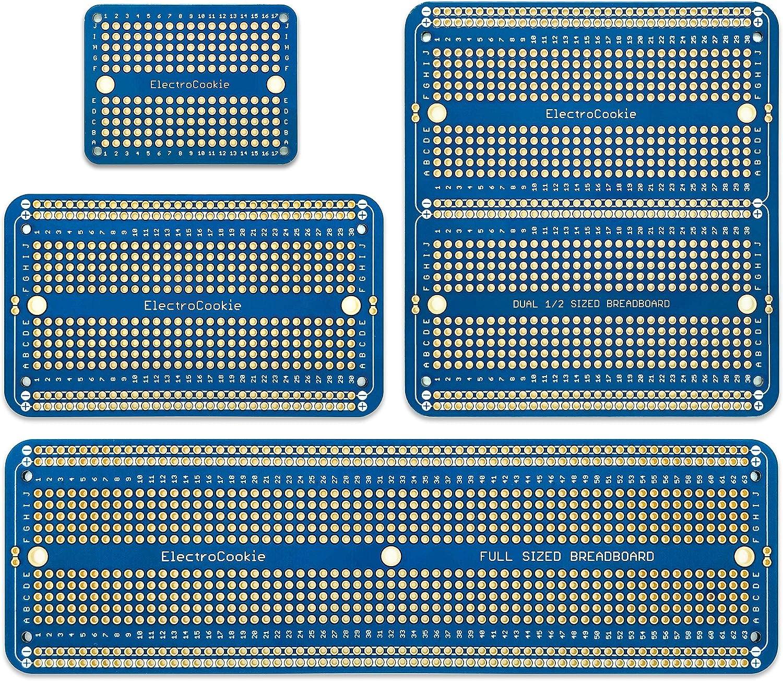 3,8x3.5 2-Pack, Mattschwarz vergoldet ElectroCookie PCB Prototype Board schnappbare Streifen-Board mit stromschienen f/ür arduino und DIY Electronics