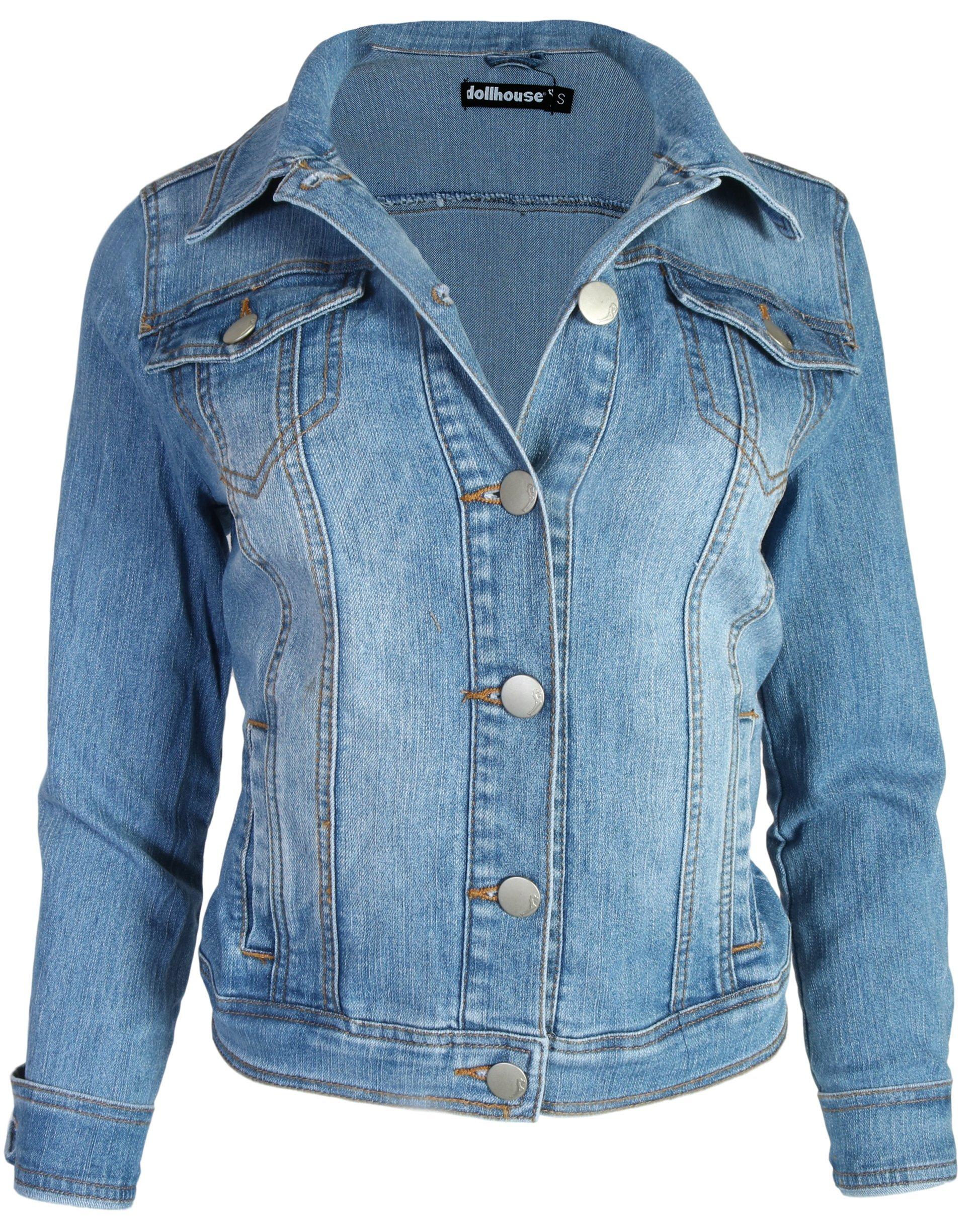dollhouse Women Basic Denim Jean Jacket, Medium, X-Large'