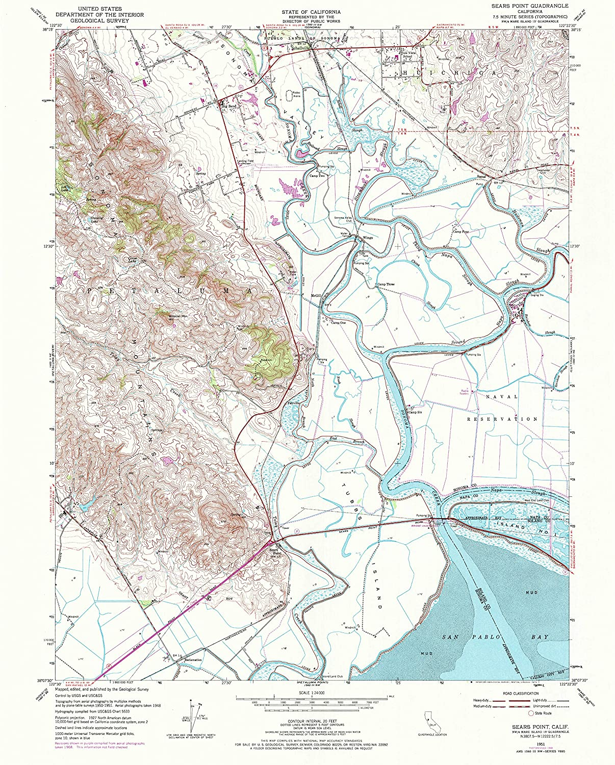 Amazon.com : YellowMaps Sears Point CA topo map, 1:24000 ...