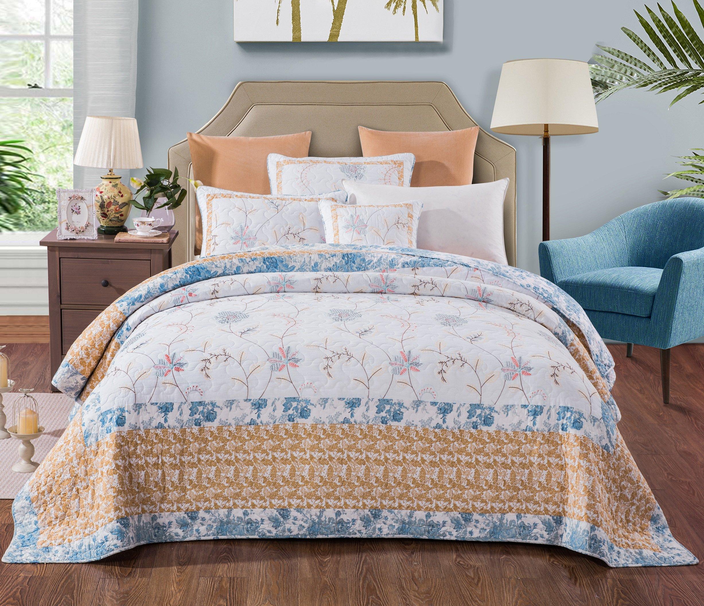 Tache 3 Piece Cotton Floral Patchwork Winter Frost Blue Yellow White Bedspread Coverlet Quilt Set, Queen by Tache Home Fashion