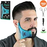 BEARDMAN - Beard Shaping Tool - 6 in 1 Multi-liner Beard Shaper Template Comb Kit Transparent - Bonus Items Included - Works with any Beard Razor Electric Trimmers or Clippers - (Clear Blue)