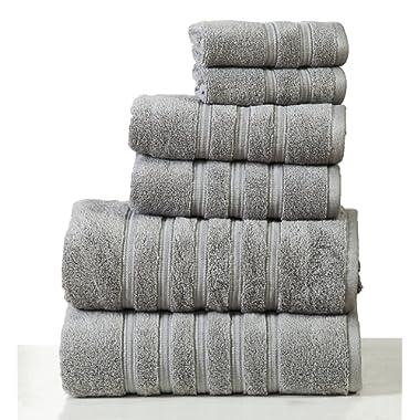 Homeway Decor 100% long-staple cotton Zero Twist Towel Set, quick dry towels, plush, absorbent 6 piece set (silver grey)