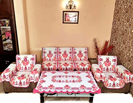 Buy SHC SHIMMER NET MAROON COMBO SOFA COVER SET WITH 6 ARMS COVERS ...