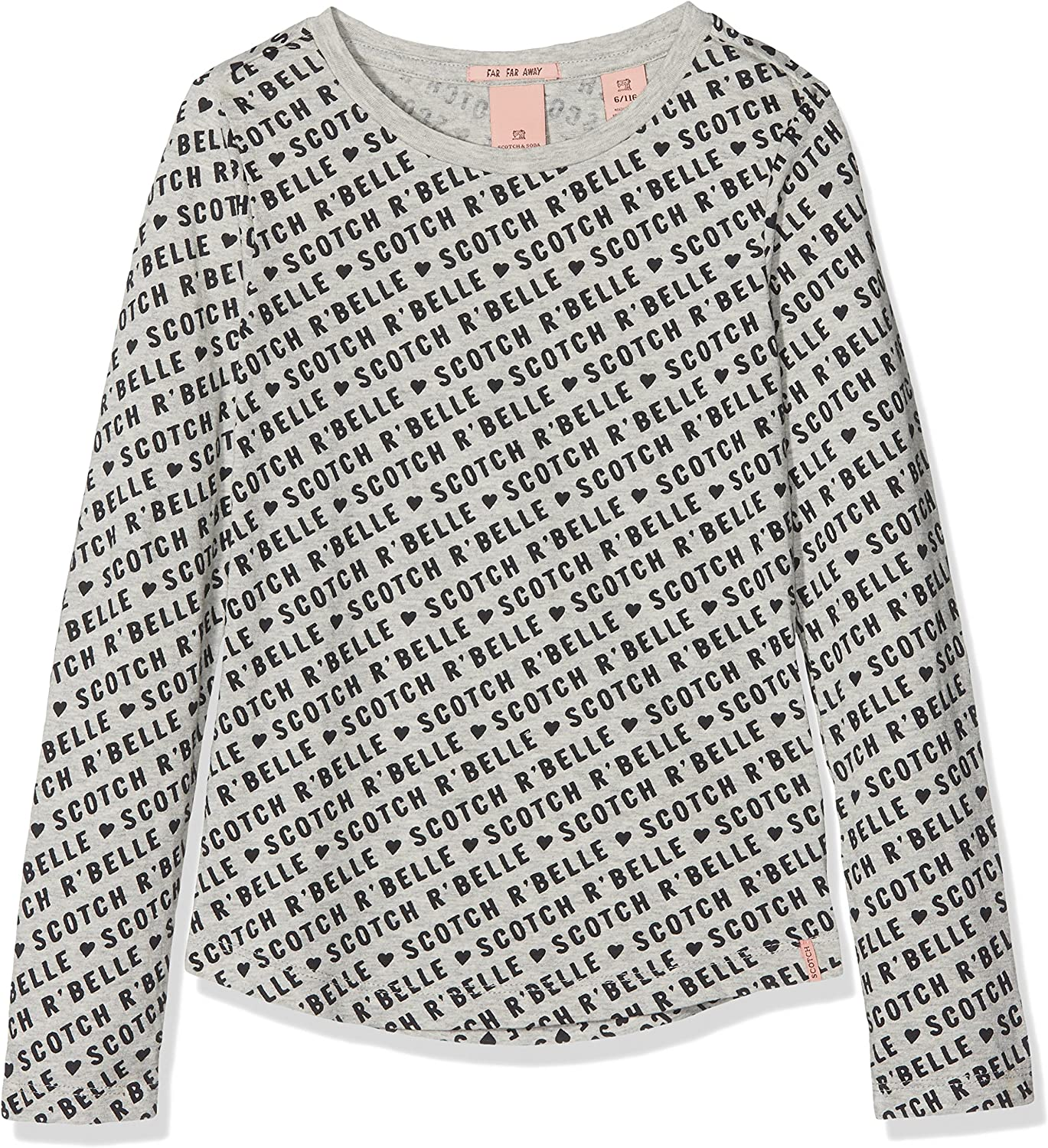 Scotch /& Soda Girls Long Sleeve Tee with Ruffles and All-Over Print Top