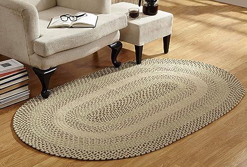 Better Trends Woodbridge Braid Collection is Durable Mildew Moisture Resistant Reversible Indoor Area Utility Rug 100 Wool in Vibrant Colors, Black 20 x 30 Oval, Black