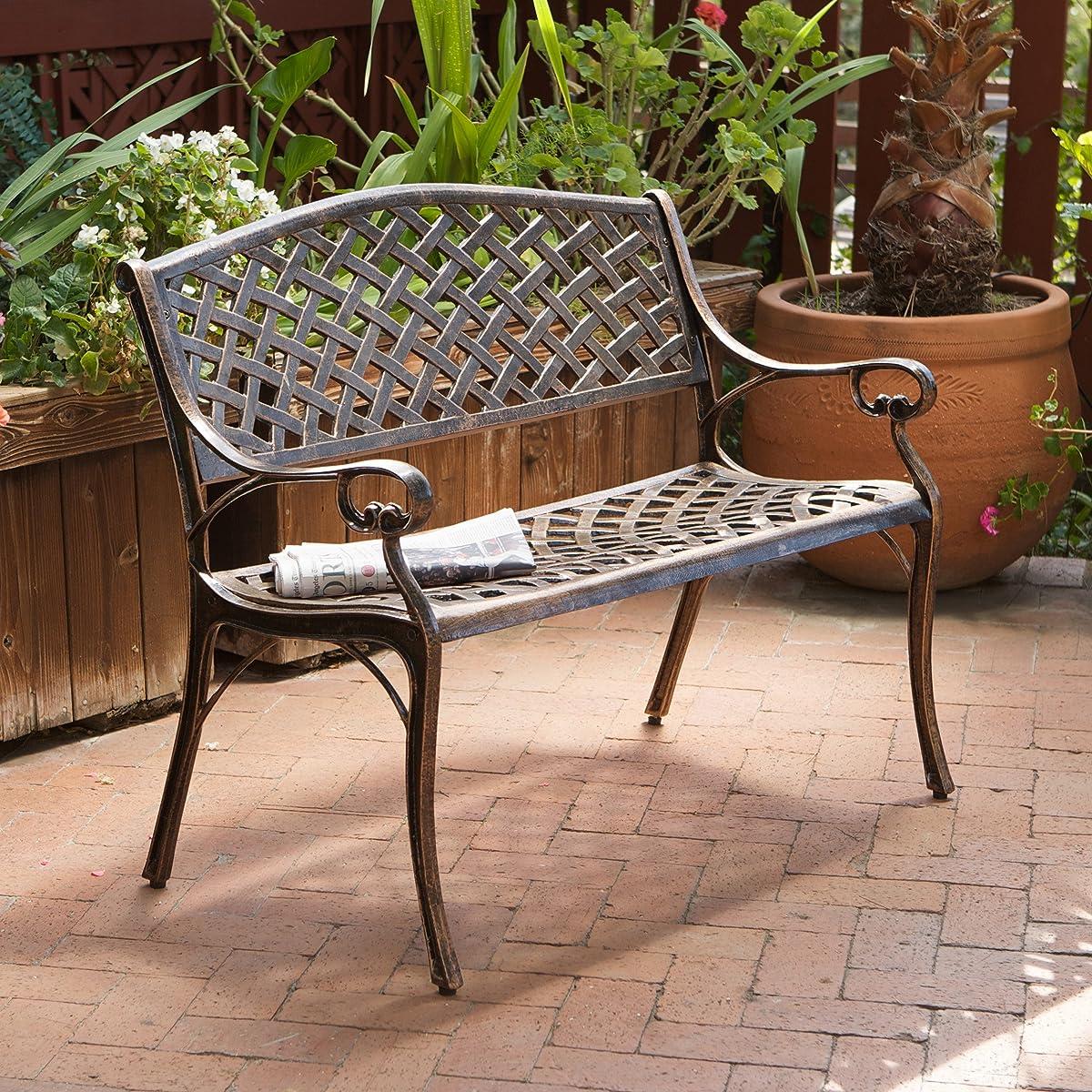 Best Selling Cozumel Cast Aluminum Bench, Antique Copper Finish
