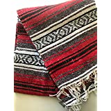 "Mexitems Mexican Falsa Blanket Authentic 52"" X 72"" Pick Your Own Color (Red/Grey/Black)"