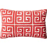 Safavieh Pillow Collection 12 by 18-Inch, Chy Satin Red Greek Key Throw Pillows (Set of 2)