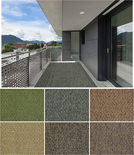 7 x12 Granite Dust Gardenscape Indoor Outdoor Area Rug Carpet, Runners with Many Sizes and Finished Edges.