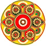 CurioCity Handicraft Acrylic Rangoli Decorations of Golden, White, Pink, Purple, White Accents Leaf Motifs with Red Center (8 Inch) -13 Piece Set