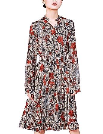 578885e32e03 Women Vintage Floral Long Sleeve Dress