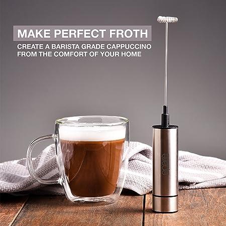 Espumador de leche y batidor de té matcha Eparé; varilla mezcladora plateada de mano, eléctrica y de pila para capuchino latte o bebida de café; ...