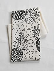 Organic Cotton Geometric Pineapples Tea Towel in Black