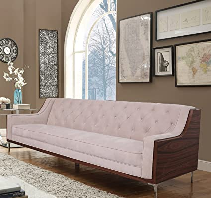 Iconic Home Clark Modern Contemporary Cream Velvet Tufted Swoop Arm Sofa  With Walnut Finish Silvertone Chrome