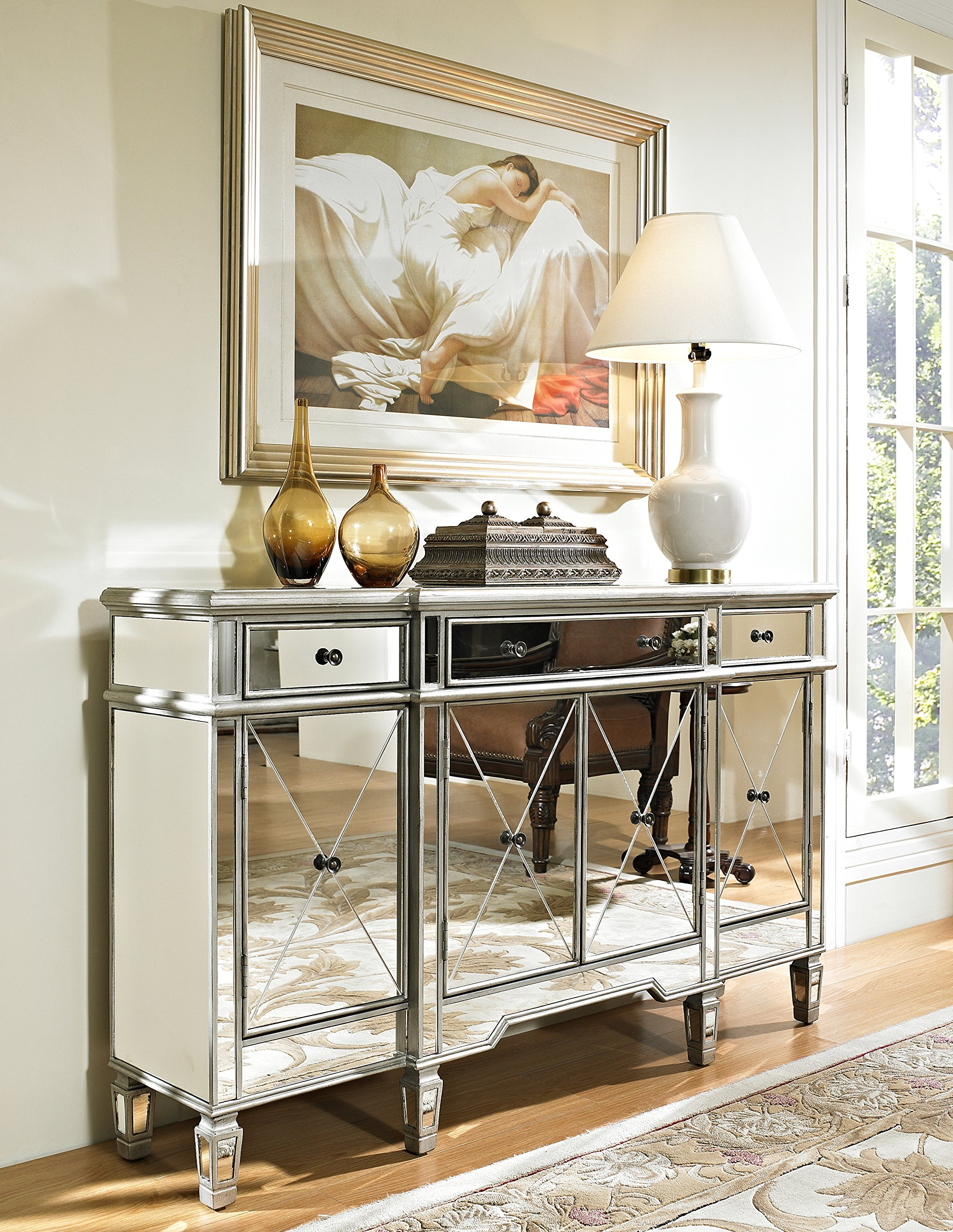 Powell Company Mirrored 4-Door 3-Drawer Console by Powell Company (Image #2)