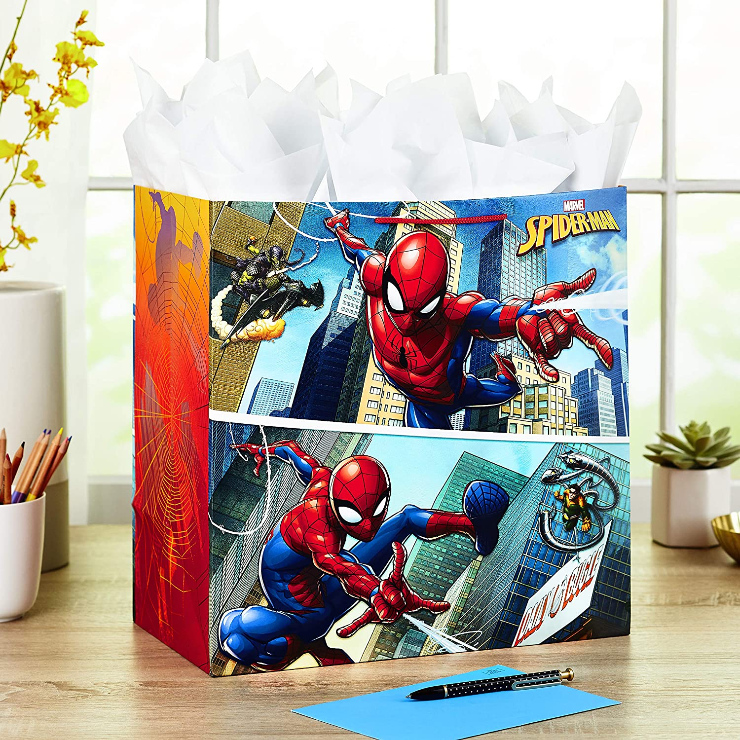 Iron Man Black Widow Holidays Captain America Fathers Day and More for Birthdays Thor Pack of 3, 105 sq. ft. ttl. Hallmark Avengers Wrapping Paper Bundle with Cut Lines on Reverse
