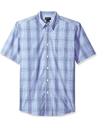 Haggar Men's CVC Short Sleeve Tonal Plaid Shirt