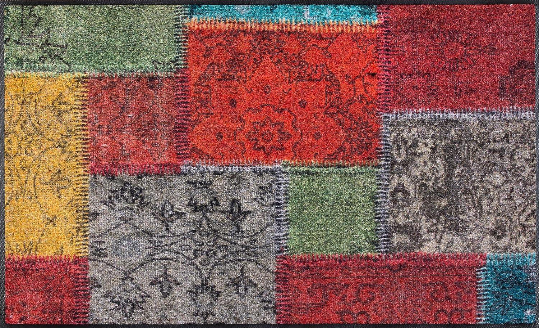 Wash+dry Vintage Patches Fußmatte, Acryl, bunt, 120 x 75 x 0.7 cm