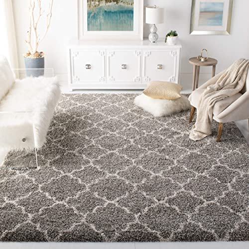 Safavieh Hudson Shag Collection SGH282B Grey and Ivory Moroccan Geometric Quatrefoil Area Rug 9 x 12
