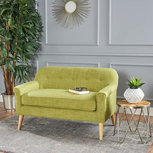 Christopher Knight Home Mia Mid Century Modern Fabric Loveseat Muted Green