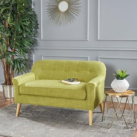 GDFStudio 301298 Mia Mid Century Modern Fabric Loveseat (Muted Green),
