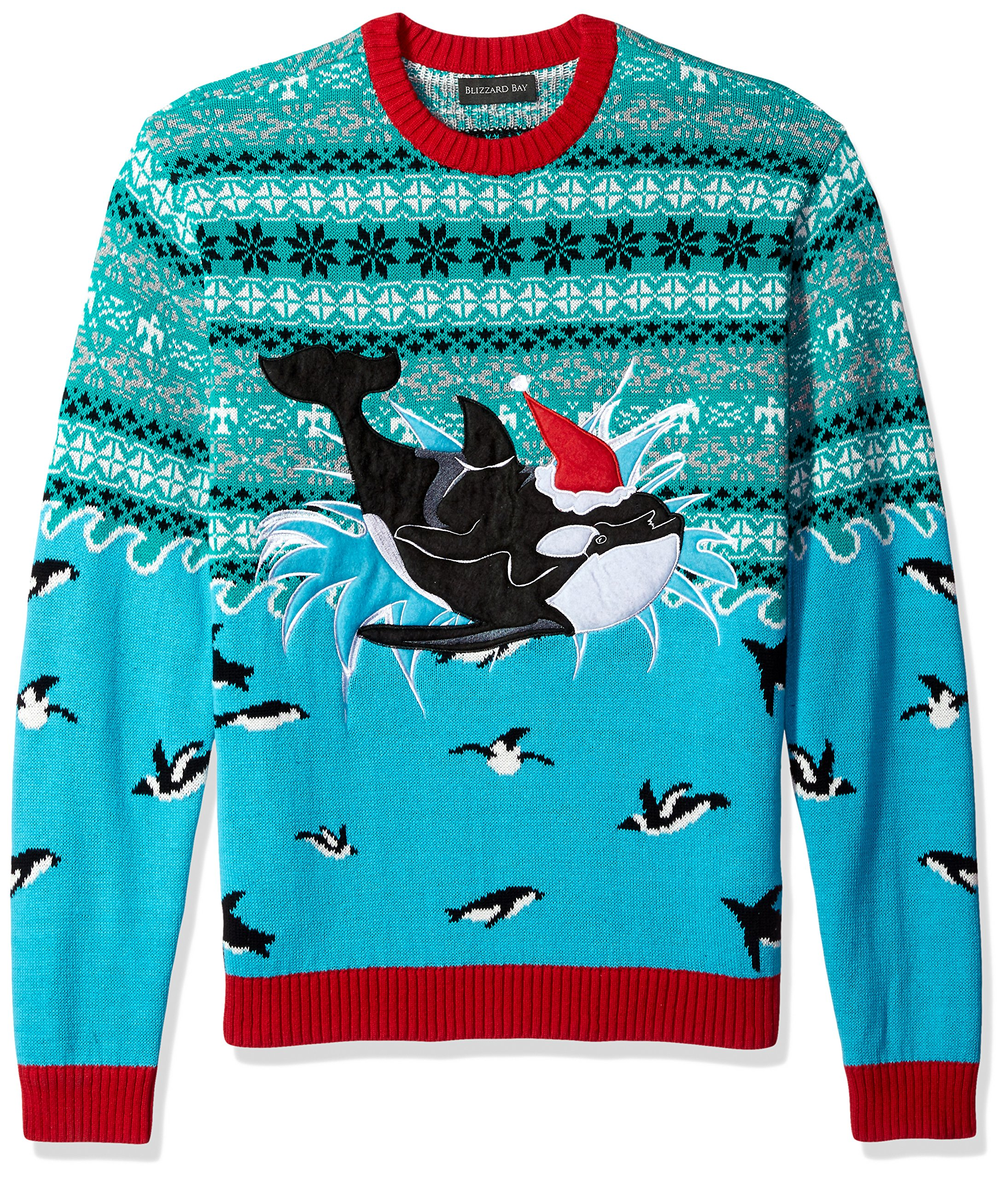 Blizzard Bay Men's Ugly Christmas Sweater Sea Creatures, Blue, Small by Blizzard Bay