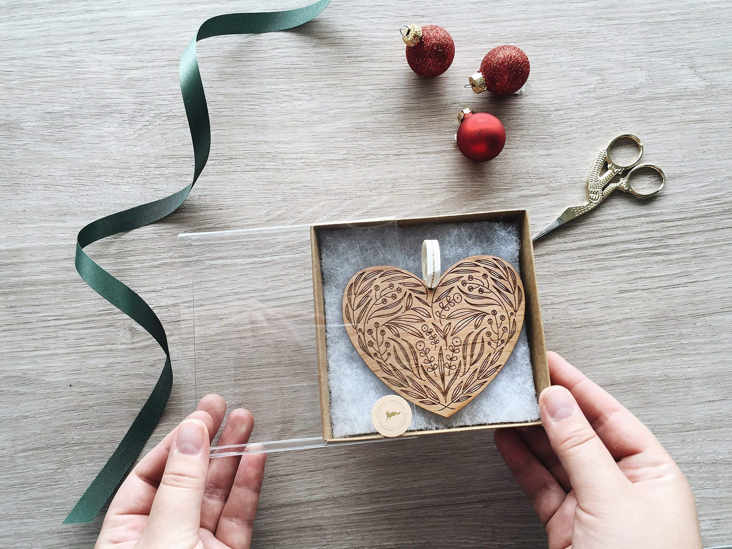 Floral Heart Laser Cut Wood Ornament (Christmas/Holiday / Anniversary/Newlyweds / Keepsake) by Cardtorial (Image #3)