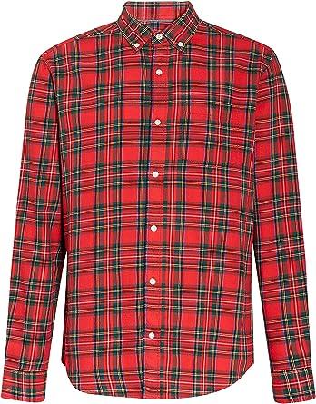 next Hombre Camisa De Manga Larga De Cuadros Escoceses Rojo XXXXL: Amazon.es: Ropa y accesorios