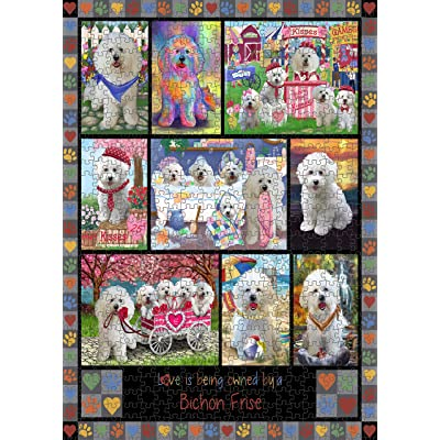 "Love is Being Owned Bichon Frise Dog Grey Puzzle with Photo Tin PUZL98272 (252 pc. 11"" x 14""): Home & Kitchen"