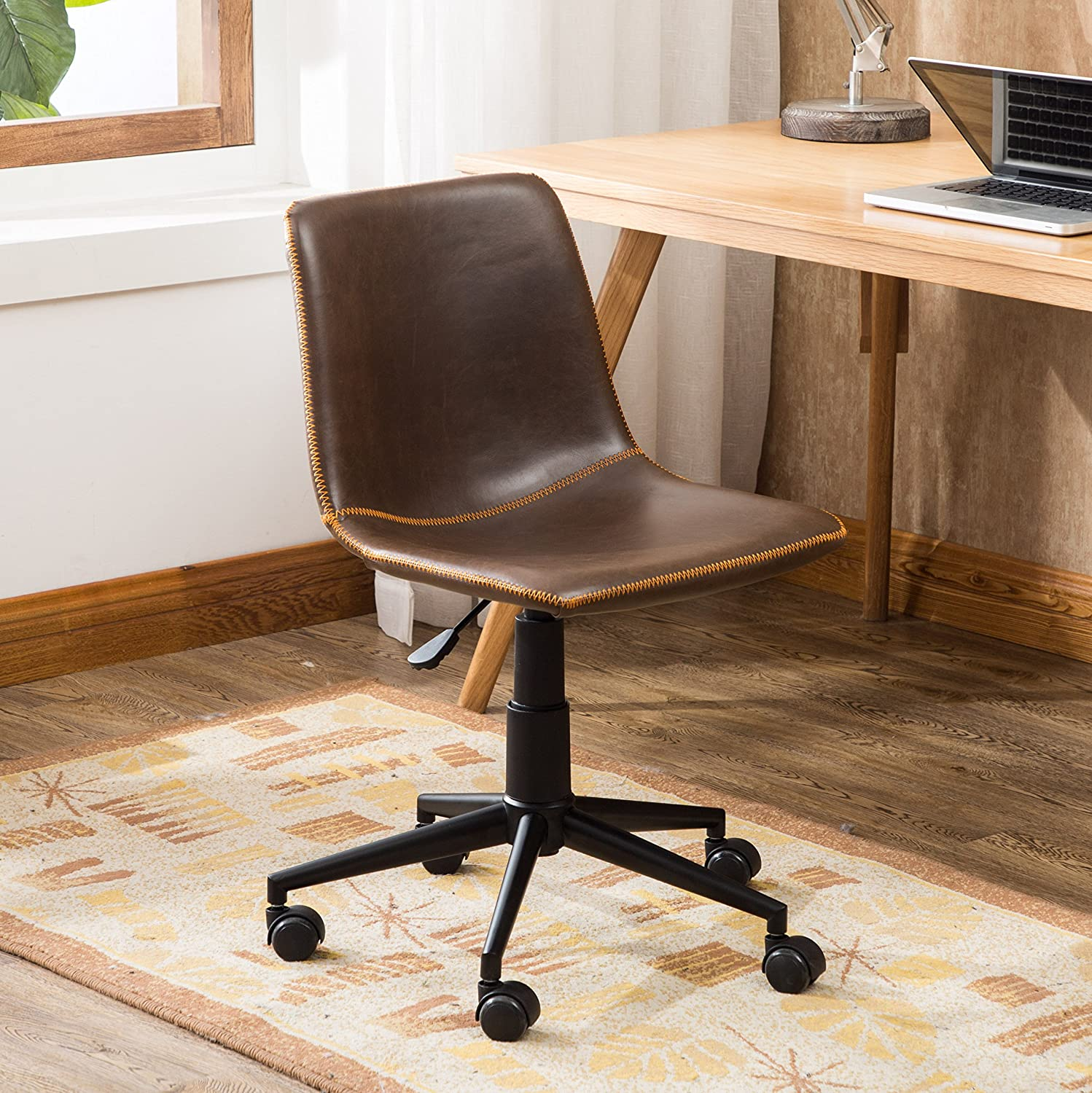 Amazon com roundhill furniture of1012br cesena faux leather 360 swivel air lift office chair brown kitchen dining