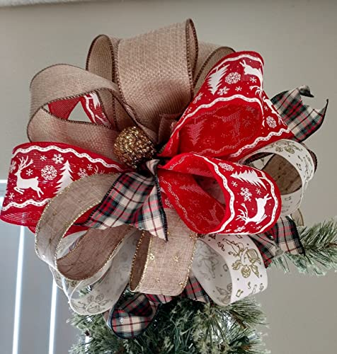 burlap mix tree topper bow free shipping rustic tree topper christmas bow - Rustic Christmas Tree Topper