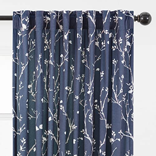 Chanasya 2-Panel Sakura Cherry Tree Soft Velvet Curtains