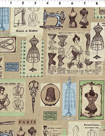Vintage design line fabric by kaufman